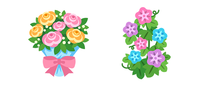 花束とアサガオのイラスト
