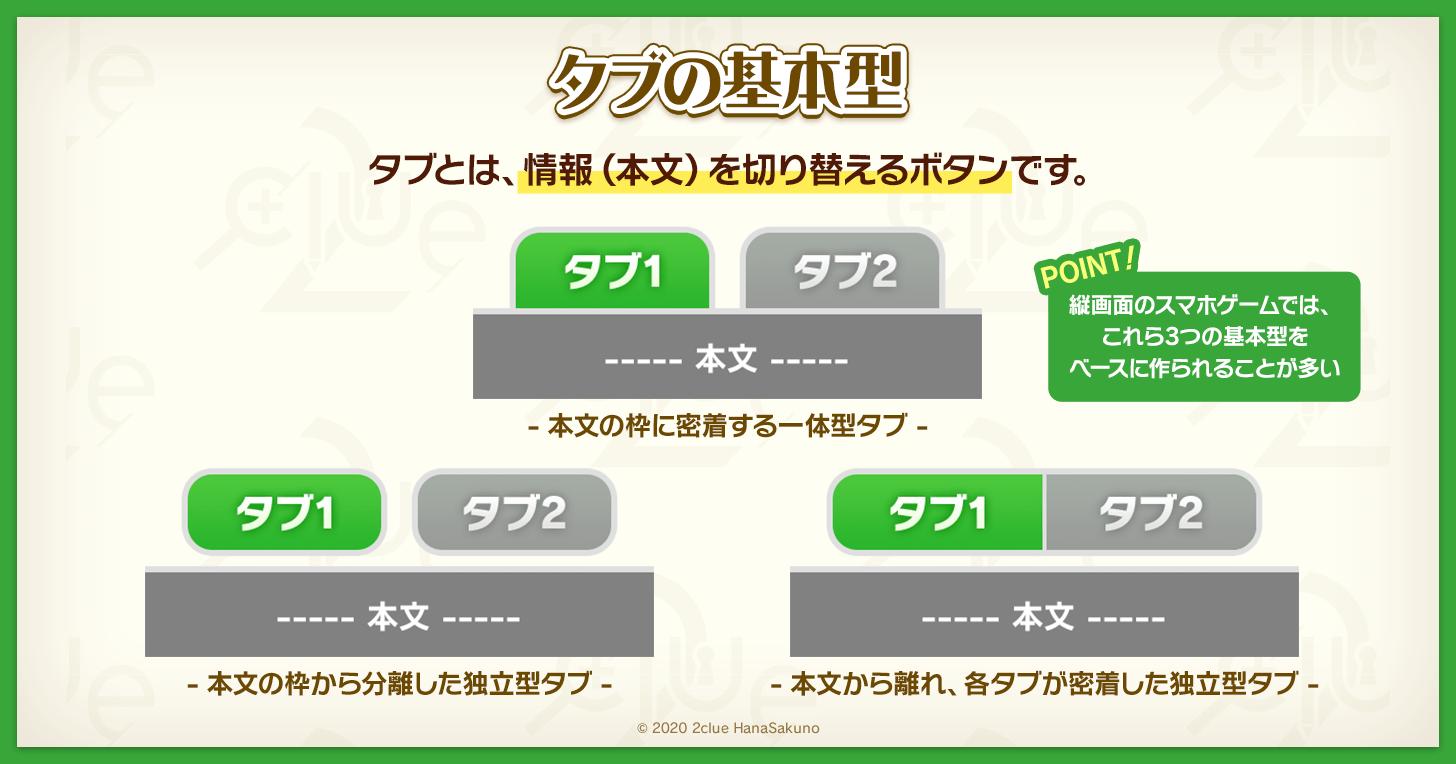 ゲームUIでよく使われる「タブの種類」3選