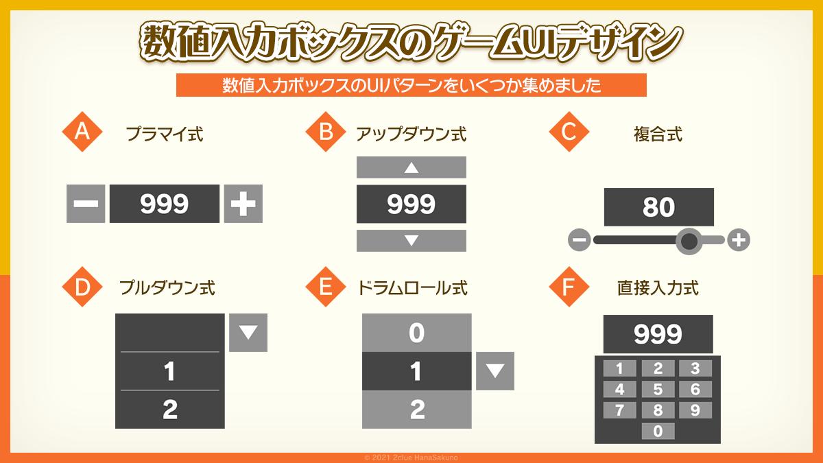 数値入力ボックスのゲームUIデザイン